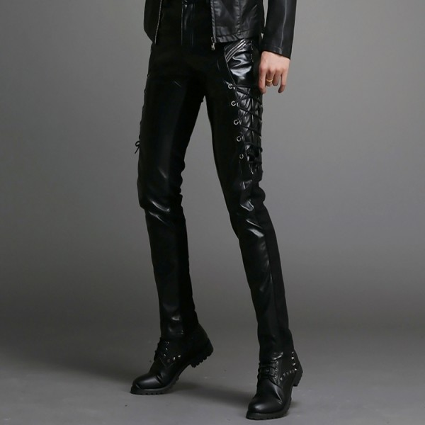 laceup leather pants