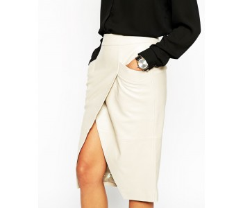 Pencil Skirt in Leather with Wrap Front and Pocket Details