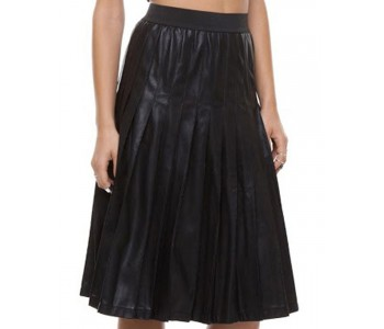 Long Pleated Leather Skirt