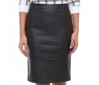 long black leather pencil skirt