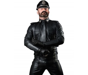 Police Leather Motorcycle Jacket