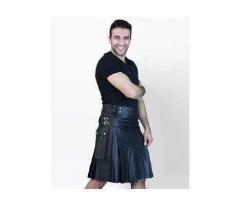 Leather Twin Cargo Pockets kilt
