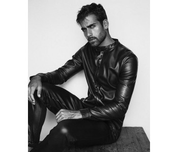 leather motorcycle shirt for men