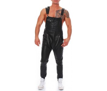 black leather overalls mens