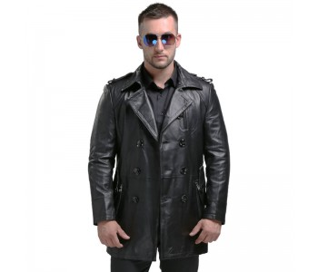 Leather Pea Coat