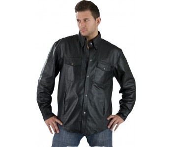 men black leather shirt