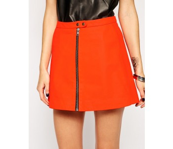 real leather mini skirt