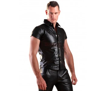 short sleeve leather shirt