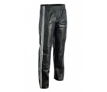 stripe leather pant men