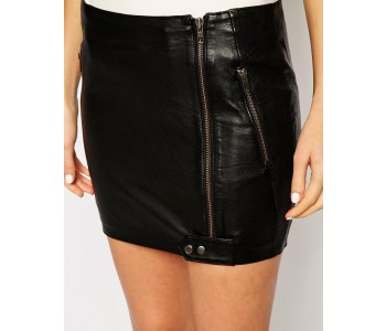 Charming Trice smallSkirt in Leather with Zip Detail zoom