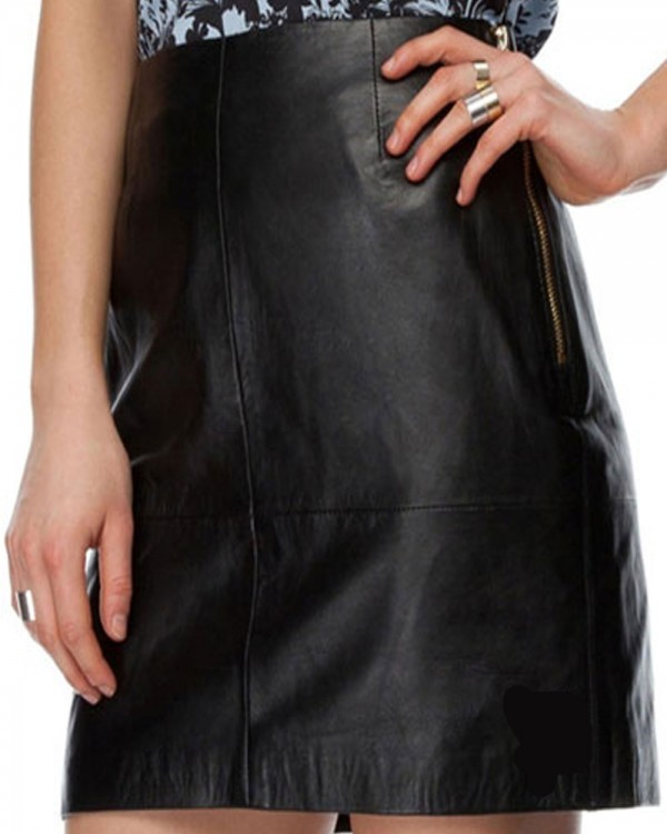 Short Pencil Leather Skirt
