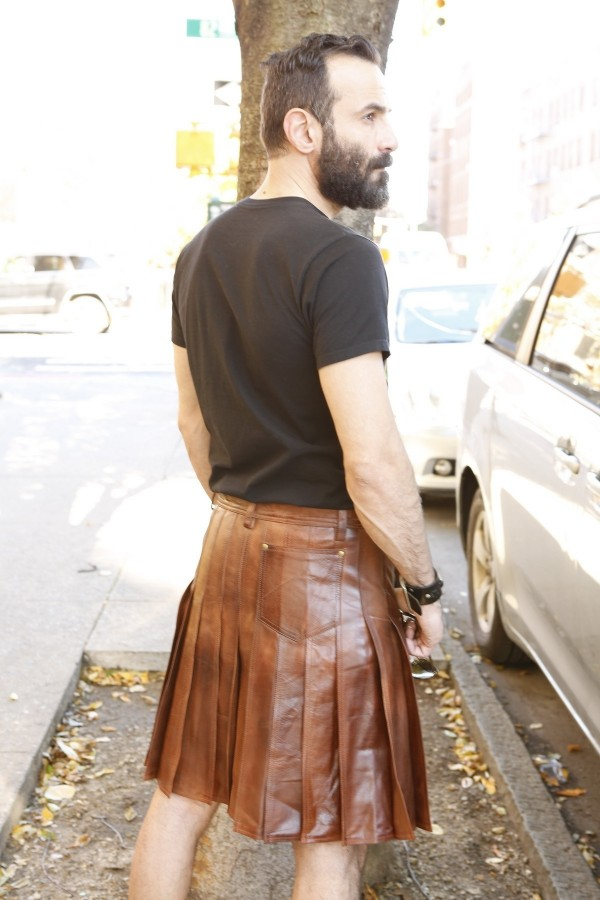Mens Cowhide Leather Kilt