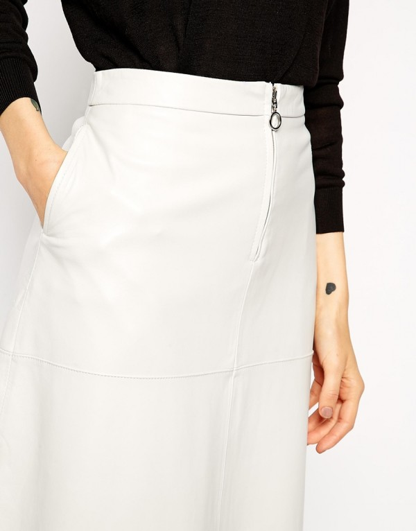Lily Elegance Midi Leather Skirt