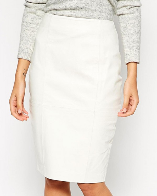 Calla Tenderness Pencil Leather Skirt