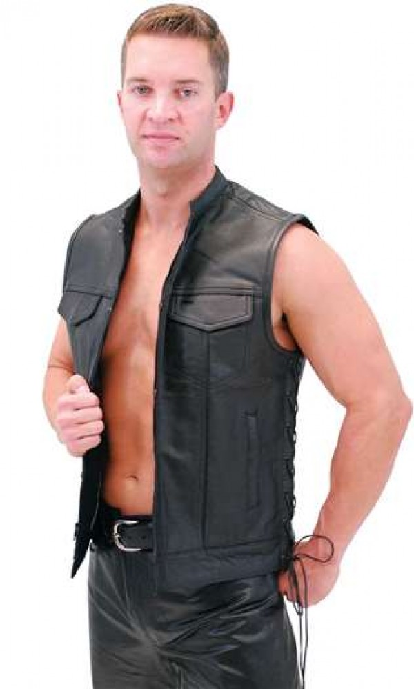 leather biker vest for men long life leather vest. Black Bedroom Furniture Sets. Home Design Ideas