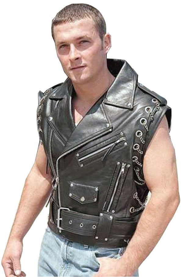 black leather vest