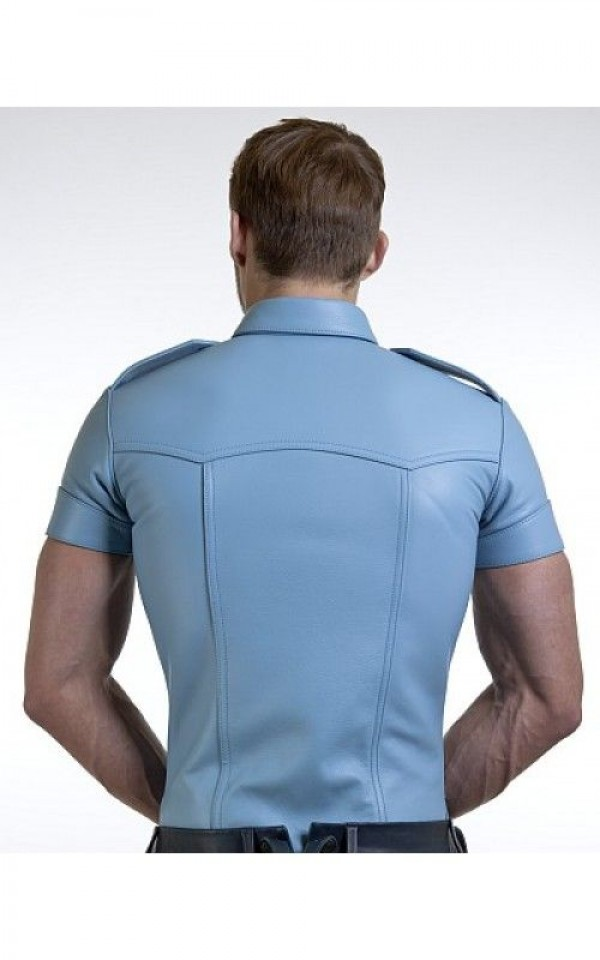 Blue Leather Shirt For Men