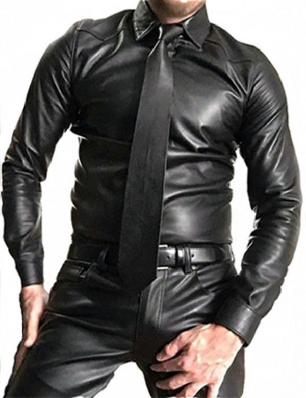 Leather Sleeve Shirt