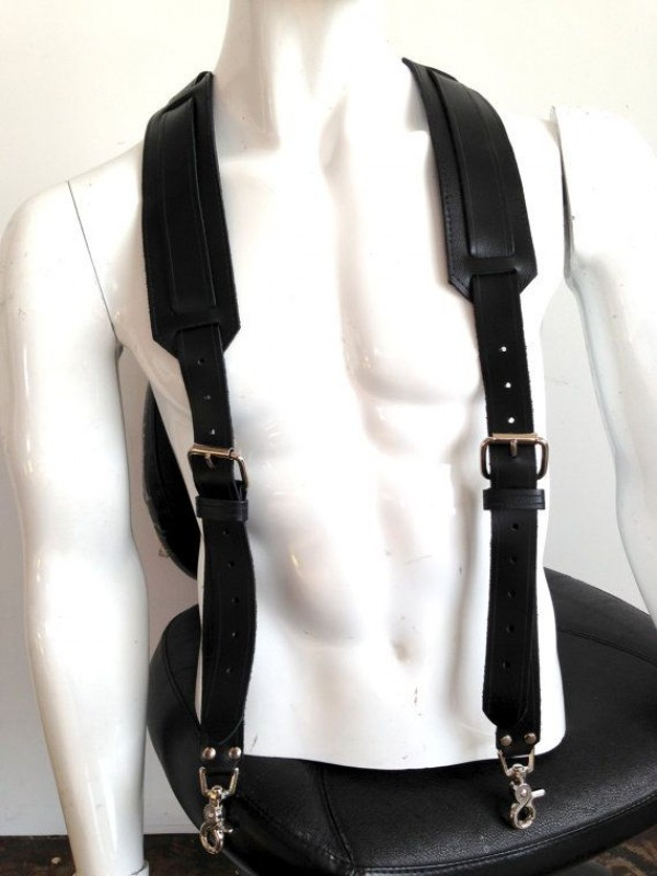 Buckle black leather Suspenders for men