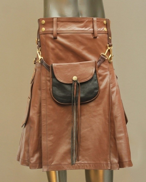 Leather Kilt With Leather Sporran