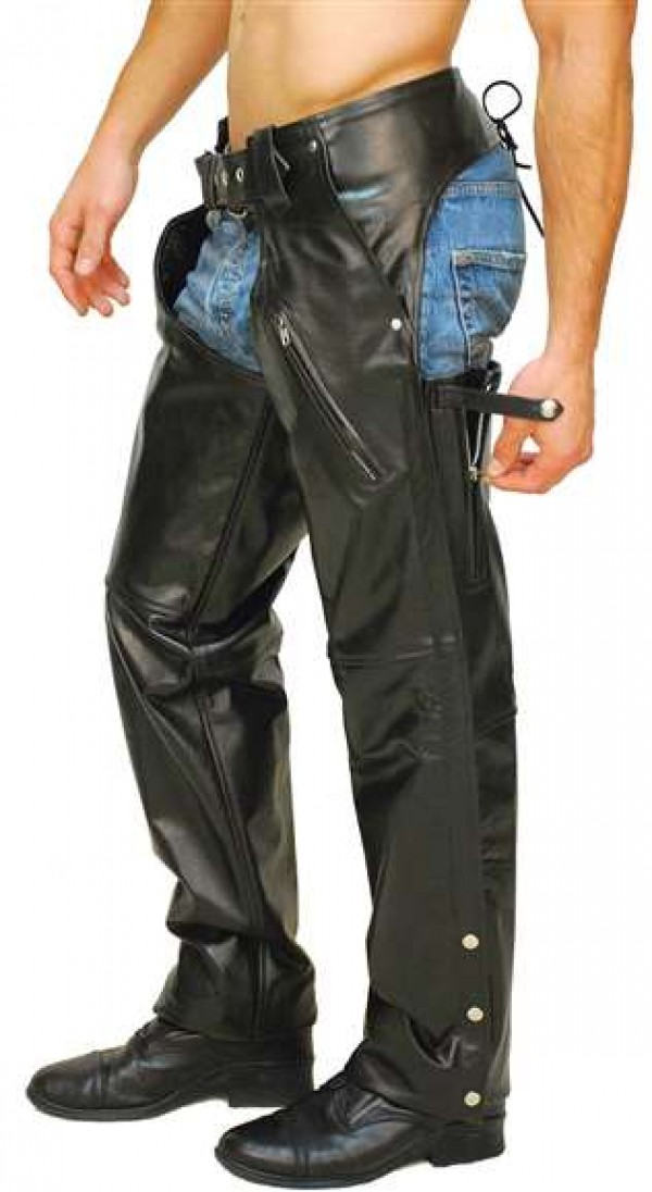 Leather Motorcycle Chaps For Men | Piquant Detail Leather Chaps