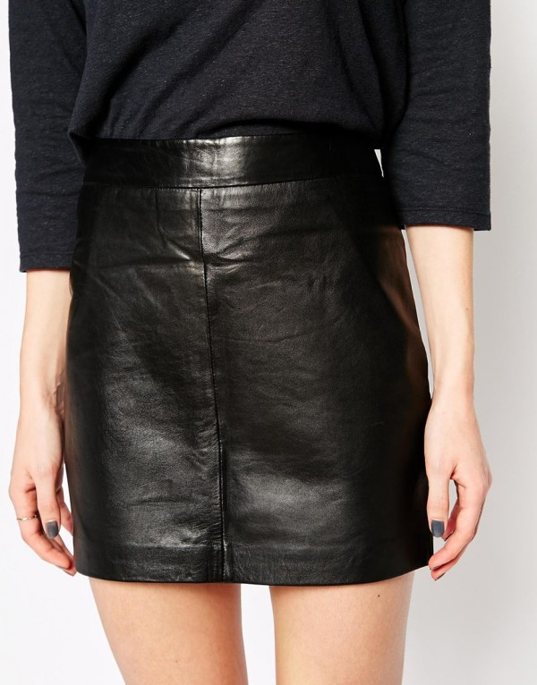 Dreams Walker Ganni Leather Mini Skirt front zoom in
