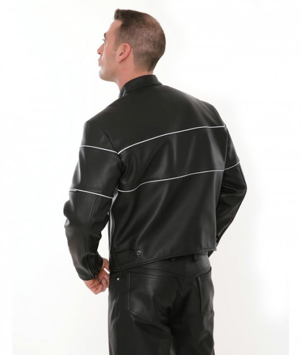 genuine leather motorcycle jacket back
