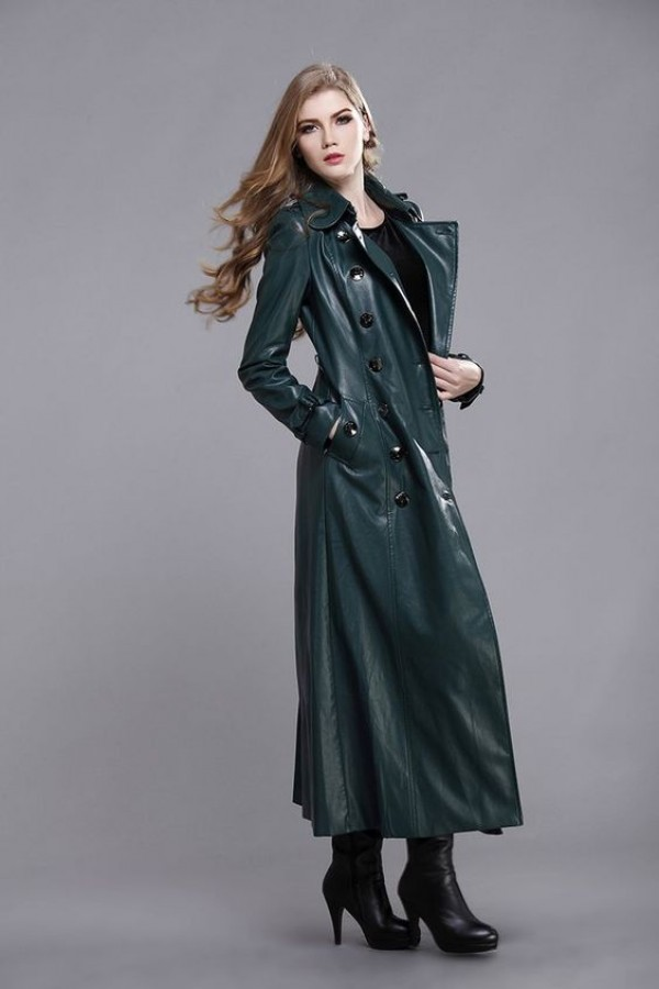 green womens long coat full