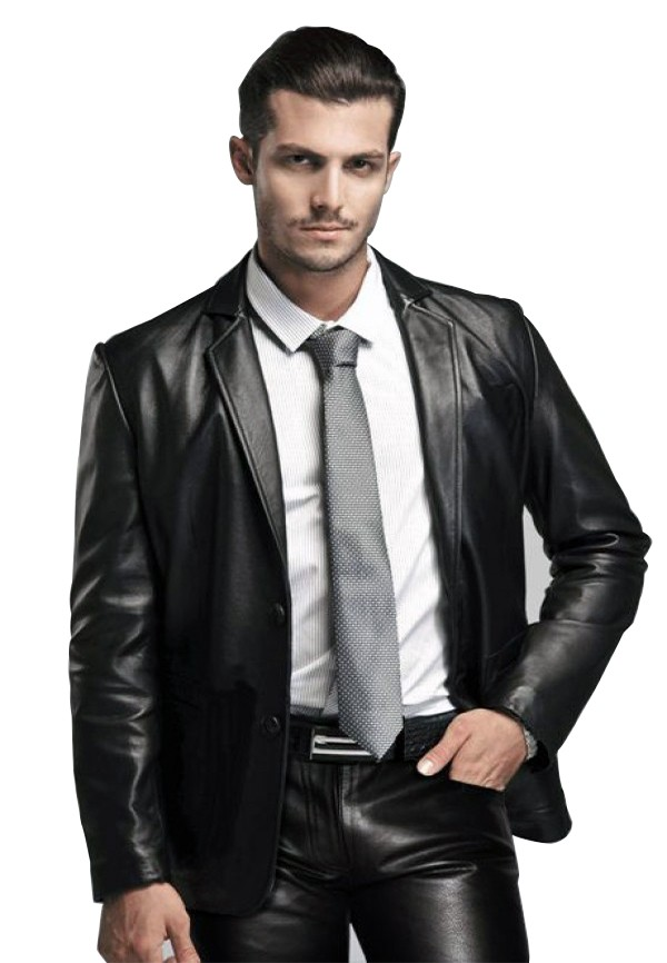 leather blazer men