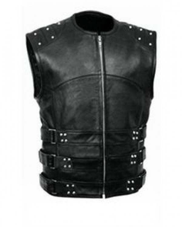 Leather Buckled Vest Men