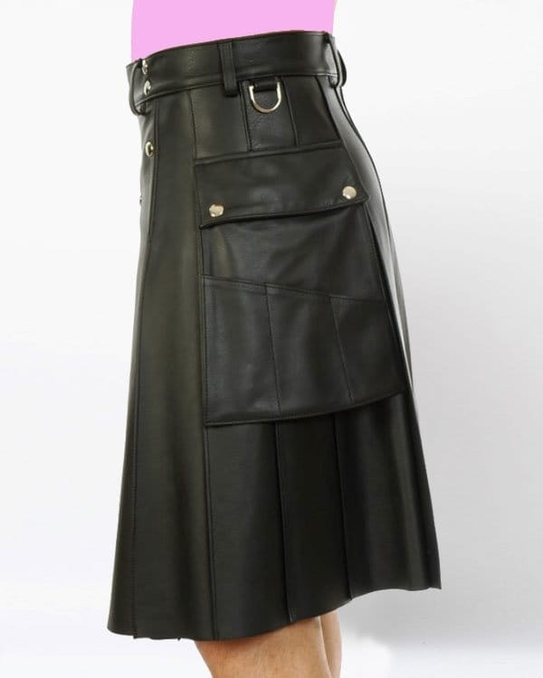 mens black leather kilt