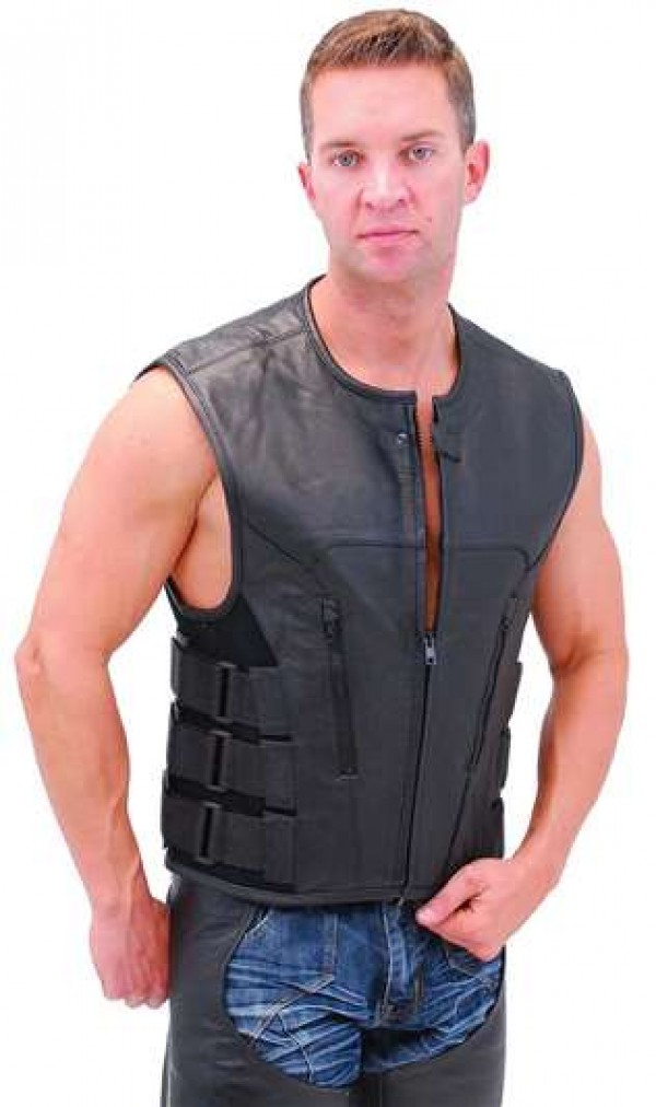 leather motorcycle vest men