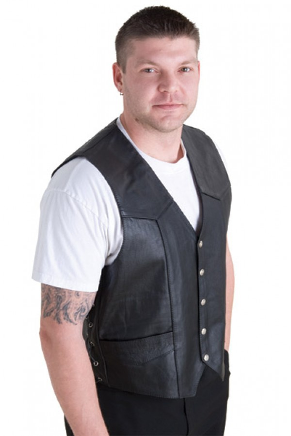 leather sleeveless vest for men