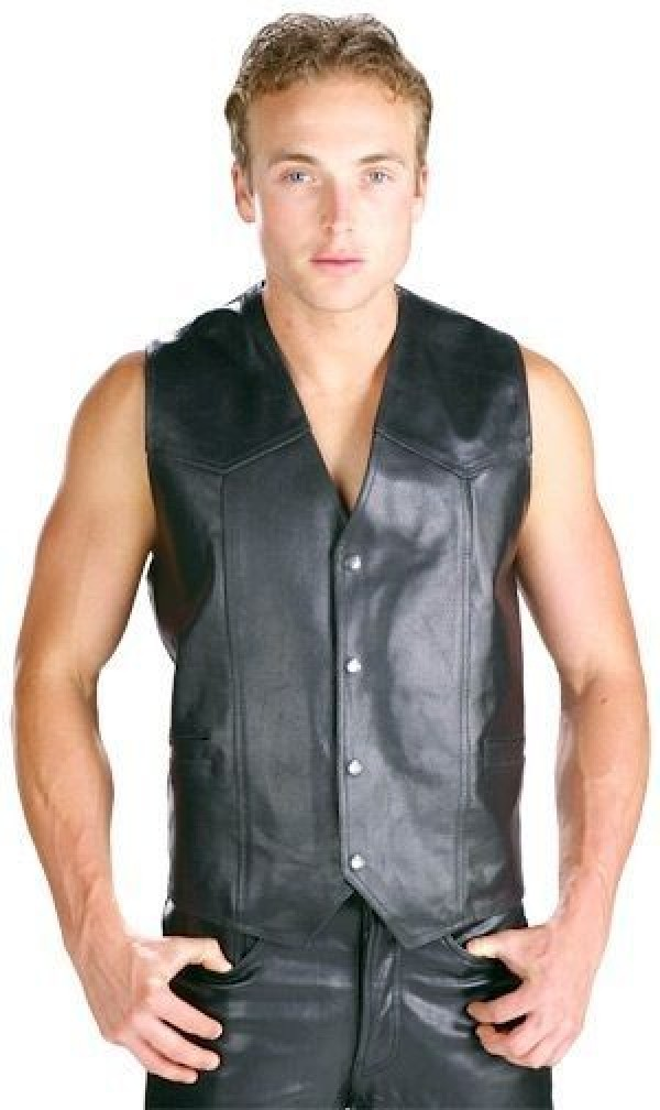 Leather Vest Mens back
