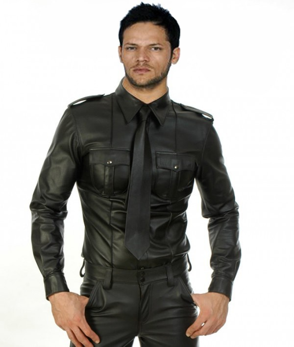 Long Sleeve Leather Shirt men