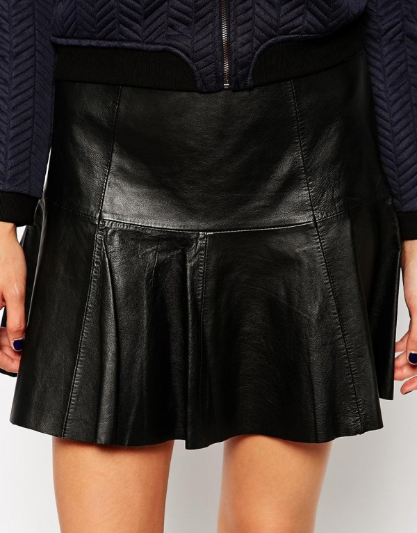 Mango Leather Peplum Skirt