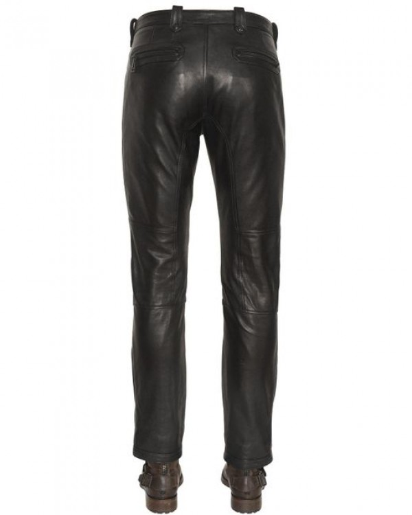 faux leather jeans men