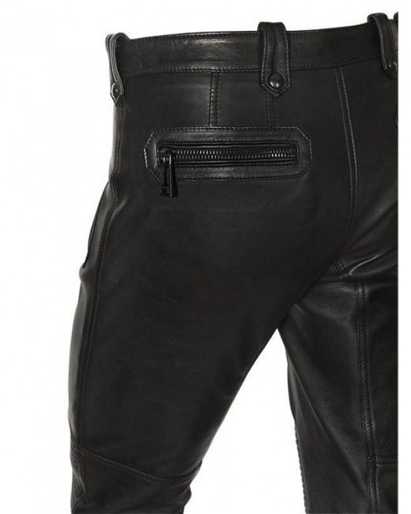 mens black leather pants back side