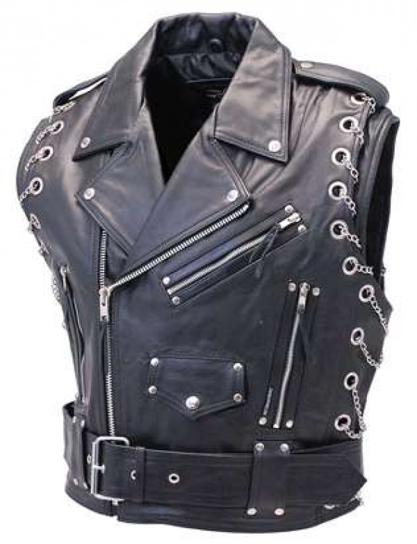 mens leather black vest