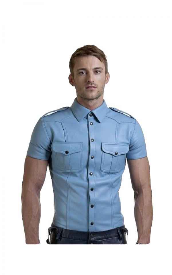 mens blue leather shirt