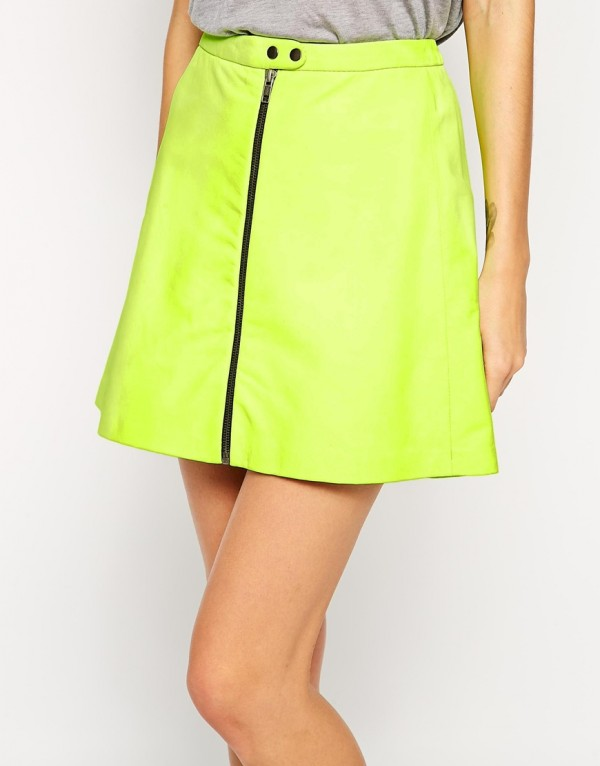 Neon Leather Mini Skirt