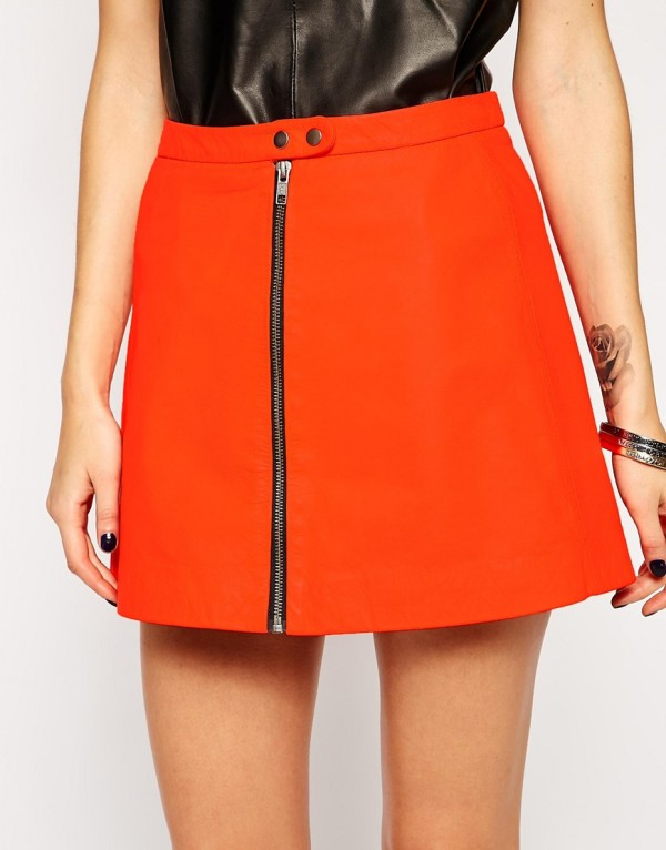 Cherry Grace Muubaa Seema Neon Leather Mini Skirt