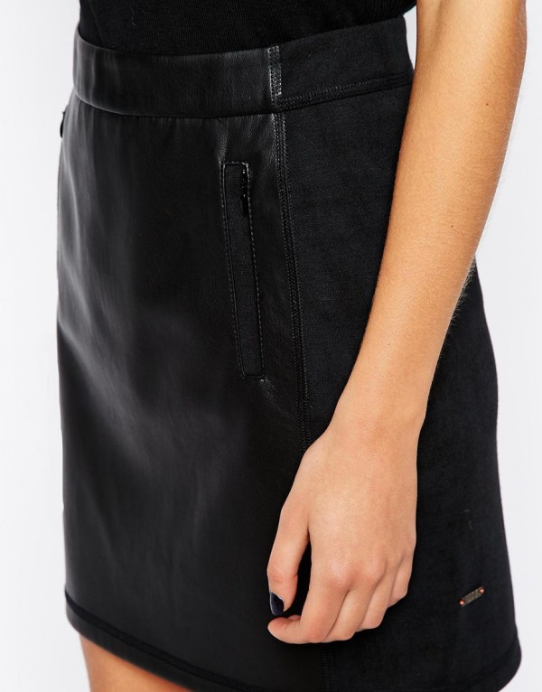 black leather zipper skirt