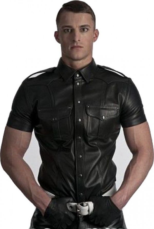 police shirt leather