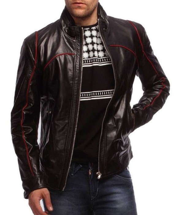 black jacket with red pipping