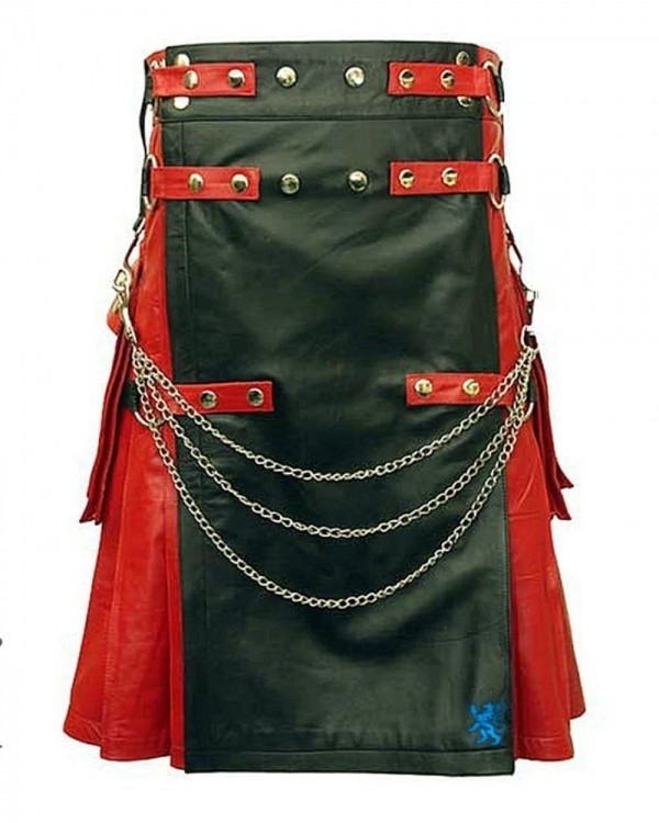 Black & Red Leather Kilt