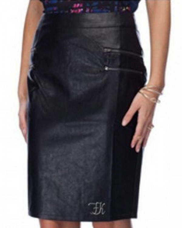 Double Zipper Leather Pencil Skirt