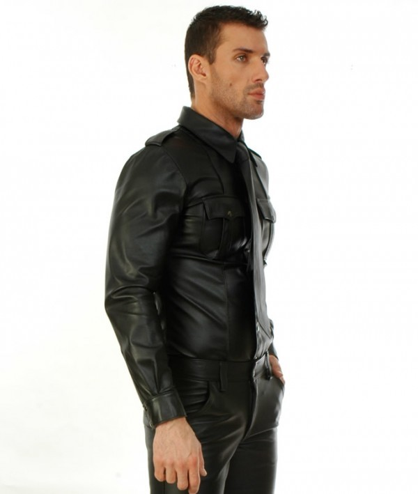 sleeve leather shirt