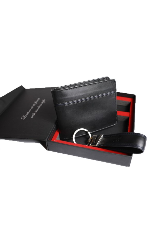 black Cow Leather Wallet and Keychain