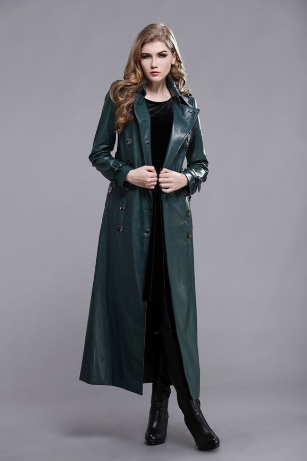 womens leather long green coat